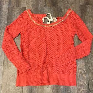 Free people orange knit sweater embellished M